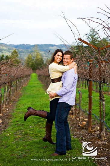 St. Helena Engagement and Wedding Photographer Orbie Pullen captured this engaged couple in love at Castello di Amorosa in Calistoga, Ca.