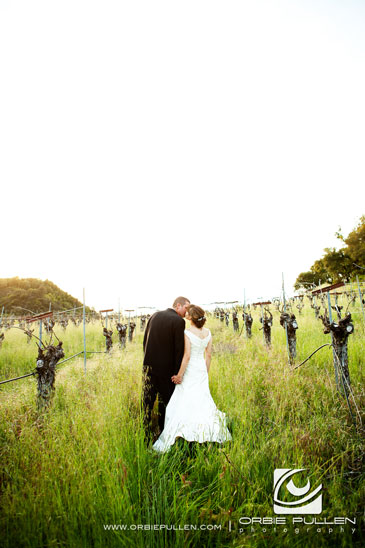 Hans Faden Winery Wedding Photographer Orbie Pullen Shot this photograph of a bride and groom in a wedding in Calistoga, Ca.